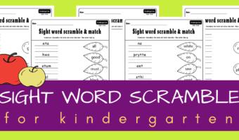 Kindergarten sight word scramble game