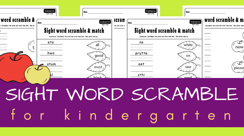 graphic relating to Free Printable Sight Word Activities identified as Kindergarten sight term scramble sport Cost-free printable functions