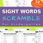 sight words scramble worksheets for kindergarten
