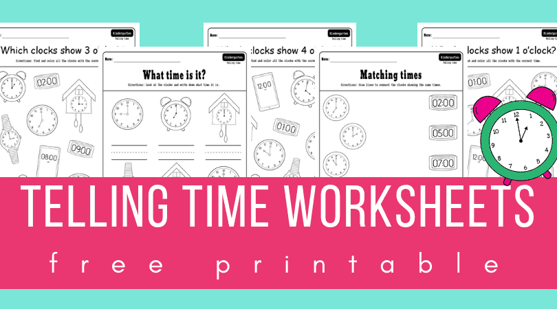 Telling time worksheets pdf set for teaching how to tell time