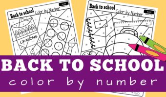 Back to school color by number worksheets