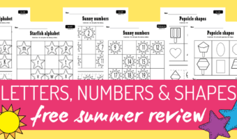 Summer letters, numbers, and shapes
