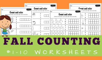 Fall counting worksheets with five and ten frames