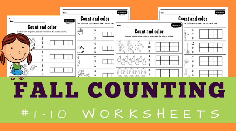 Fun free printable Fall worksheets for kindergarten math - number recognition 1-10 and counting activities. They also include five frames and ten frames. #kindergarten #math #worksheets