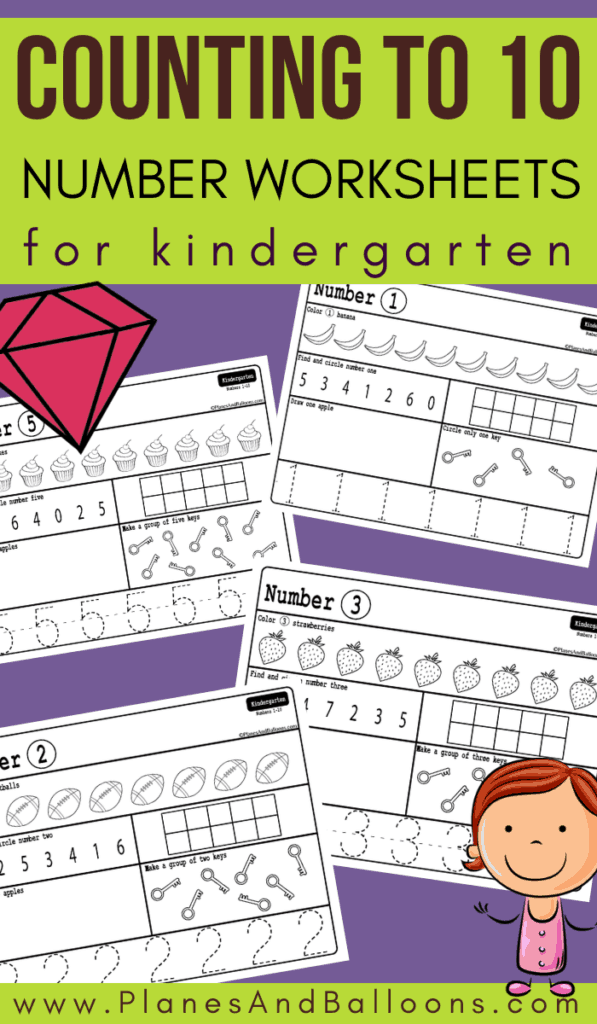 Free printable counting worksheets 1-10 for kindergarten. Free kindergarten math worksheets perfect for Common Core. #kindergarten