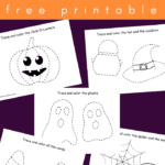 Halloween tracing sheets for preschoolers and toddlers - pumpkins, ghosts, spiders worksheets