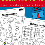 Christmas counting to 10 worksheets on blue background with red text overlay