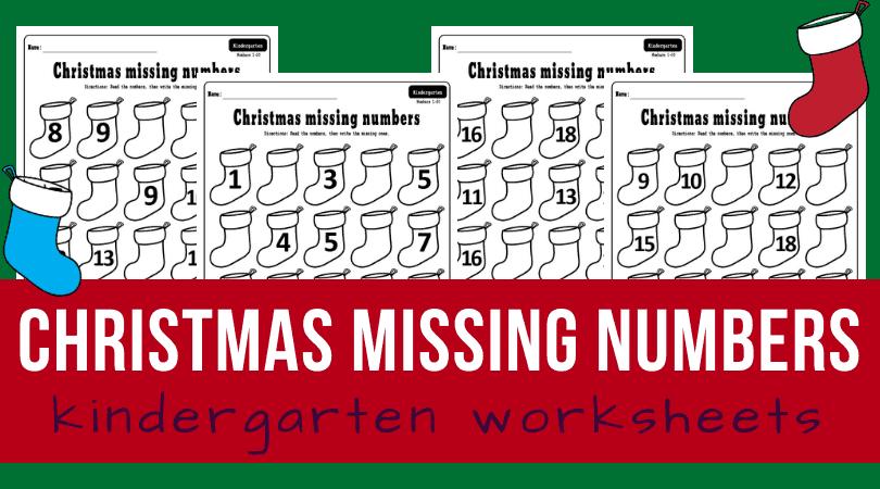 Christmas missing number worksheets 1-20 pdf