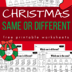 Christmas same or different worksheets on red background