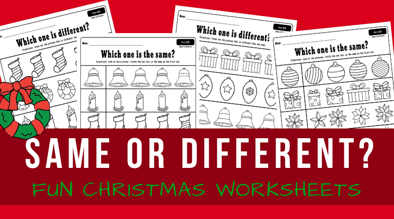 Christmas same and different worksheets