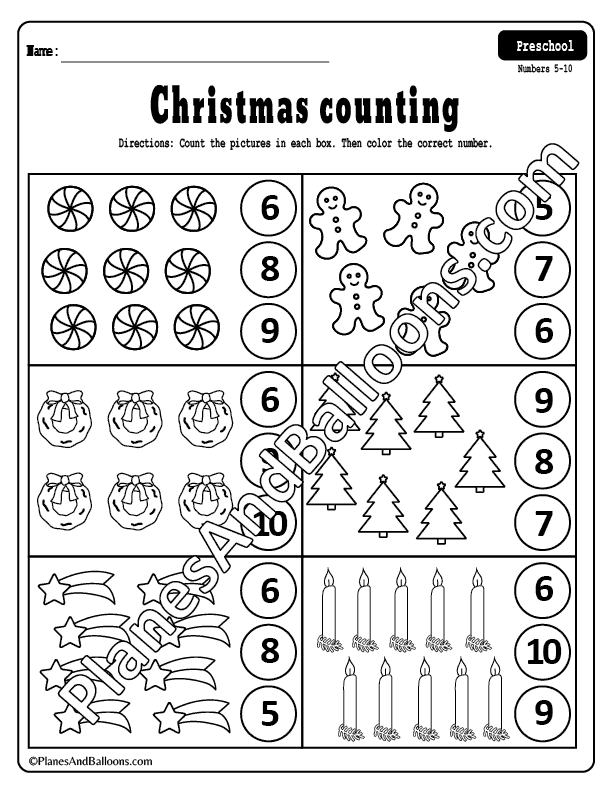 Counting to 10 Christmas worksheets preschool