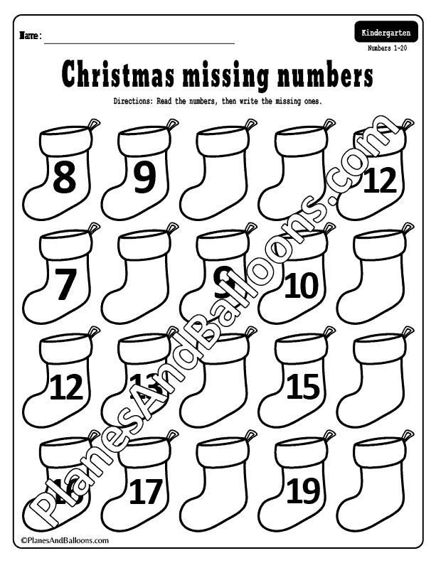missing numbers 1-20 Christmas worksheets