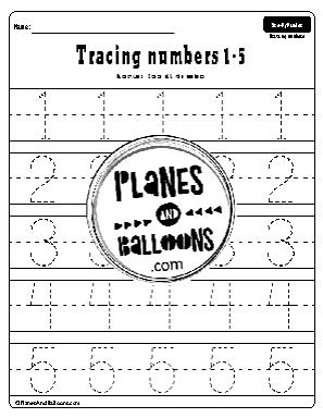 numbers 1-5 tracing worksheet