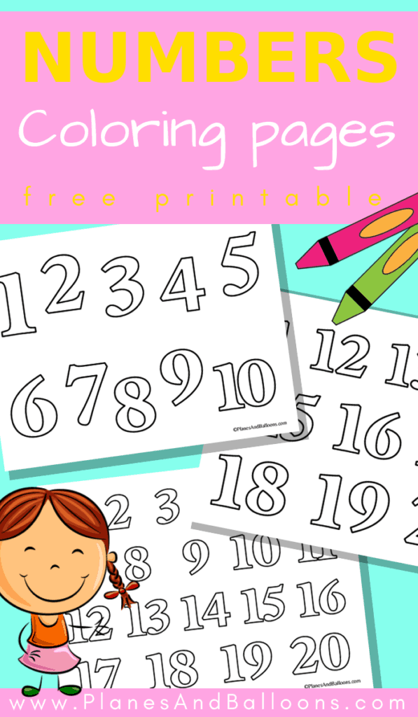 Number coloring pages 1-20