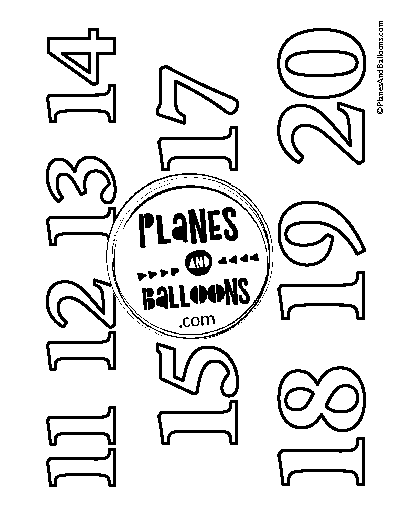 Number coloring pages 11-20