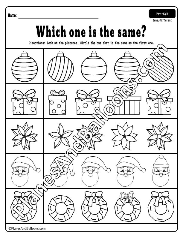 Same or different Christmas preschool worksheets