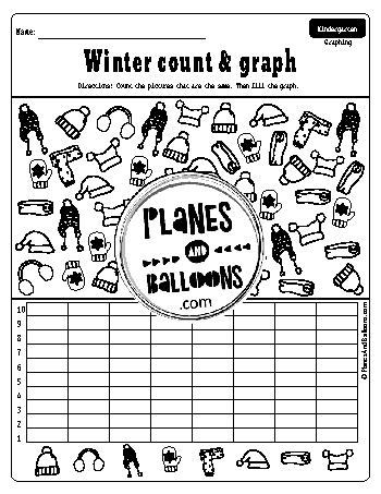 Winter count and graph worksheets for kindergarten