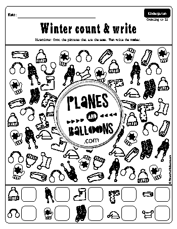 Winter count and write worksheets for kindergarten
