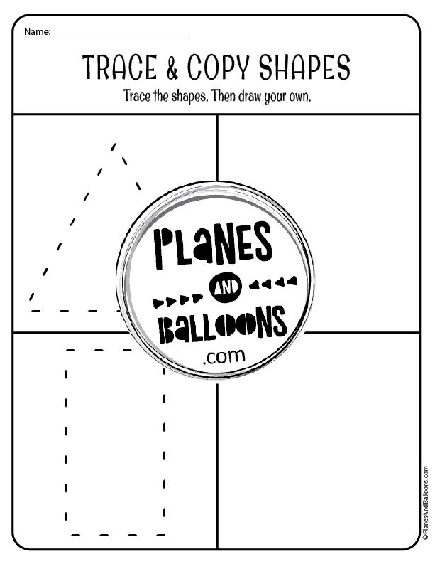 tracing shapes preschool worksheets