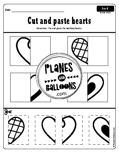 Cut and paste hearts worksheets