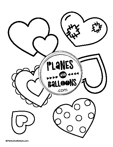 Hearts coloring page for kids