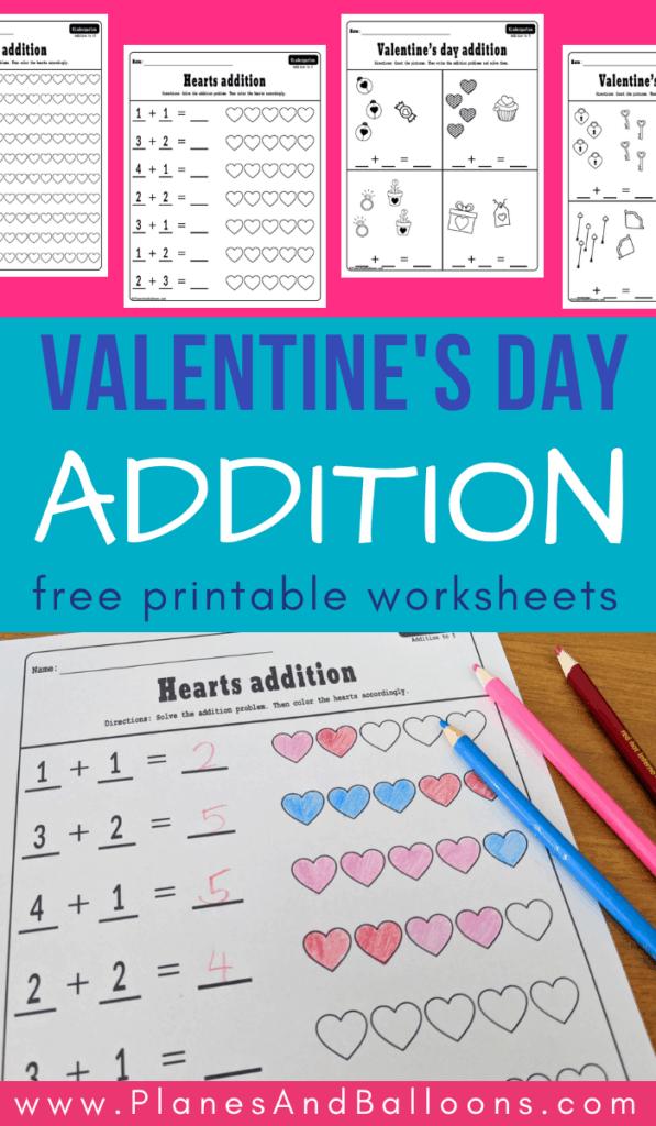 Valentine's day addition worksheets kindergarten