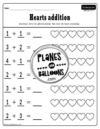 Valentine's day addition worksheets free printable