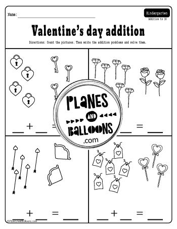 Valentine's day addition activities kindergarten