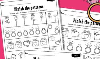 Valentine's day pattern worksheets