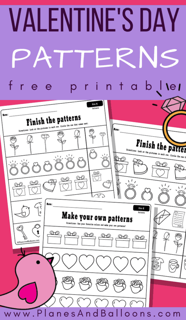 Valentine's day pattern worksheets pdf