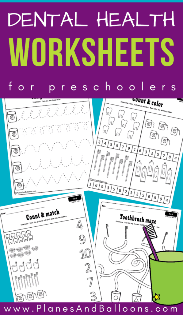 Dental health month worksheets for preschoolers