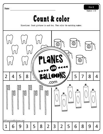 Dental health preschool worksheets