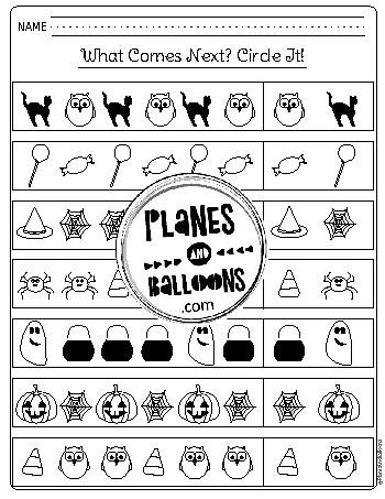 Halloween kindergarten worksheets