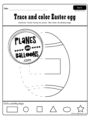 Easter shapes tracing