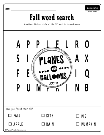 Fall kindergarten worksheets