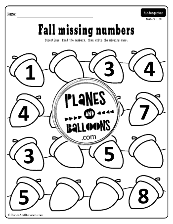 fall missing numbers 1-20