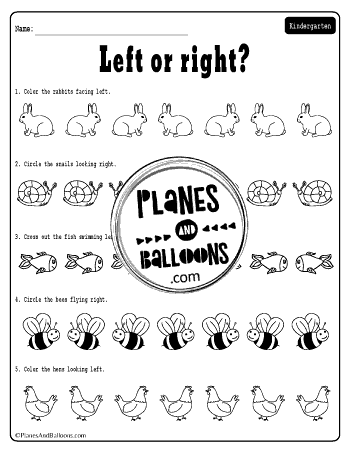 Left and right worksheets