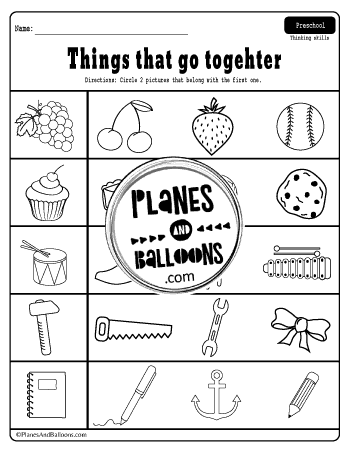 matching worksheets preschool