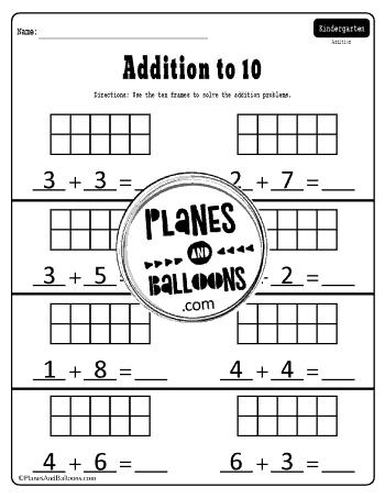 addition to 10 ten frames worksheets