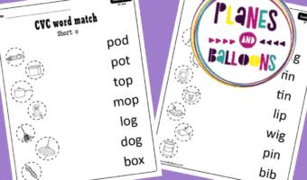 CVC words matching kindergarten