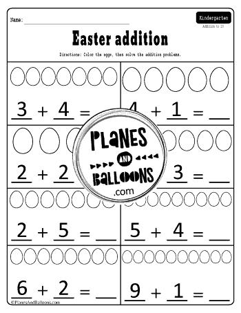 Easter addition to ten kindergarten