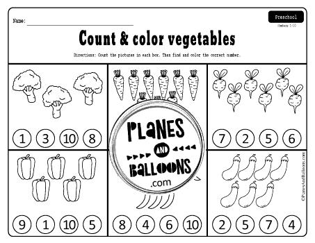 Kindergarten counting worksheets 1-20