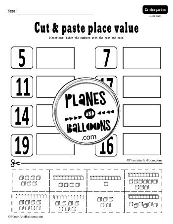 place value worksheets for kindergarten pdf