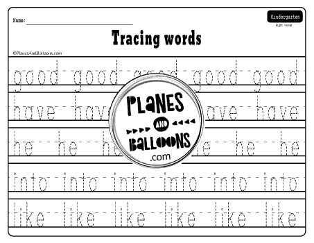 Dolch sight words tracing