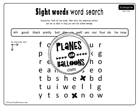 dolch sight words search kindergarten