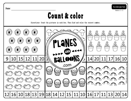 Spring counting worksheets 1-20