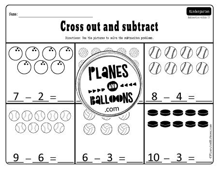 Subtraction within 10 kindergarten worksheets
