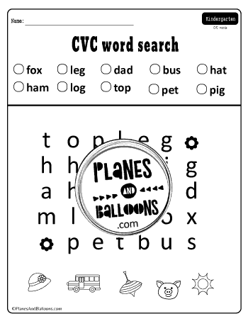 CVC word search free printable