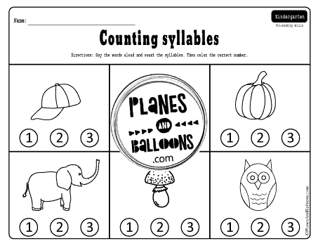 Counting syllables worksheets pdf