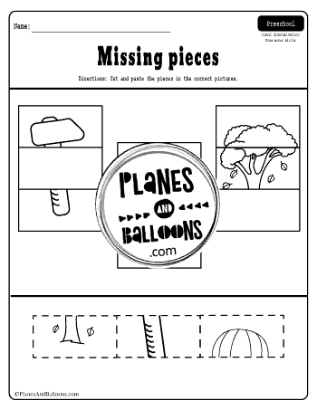 missing pieces cut and paste activity